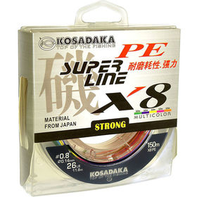 Леска плетеная Kosadaka Super Pe X8 Multicolor 150м 0.12мм (многоцветная)
